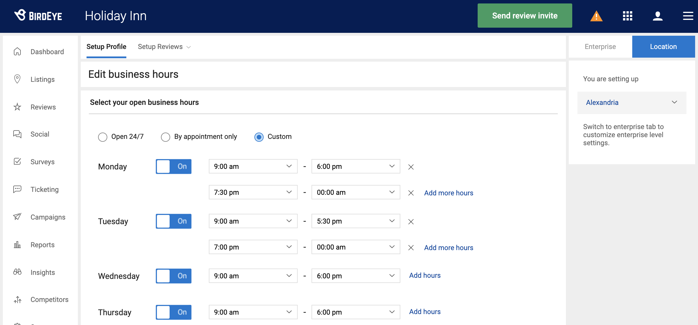 Now, add daily business hours to your review profile