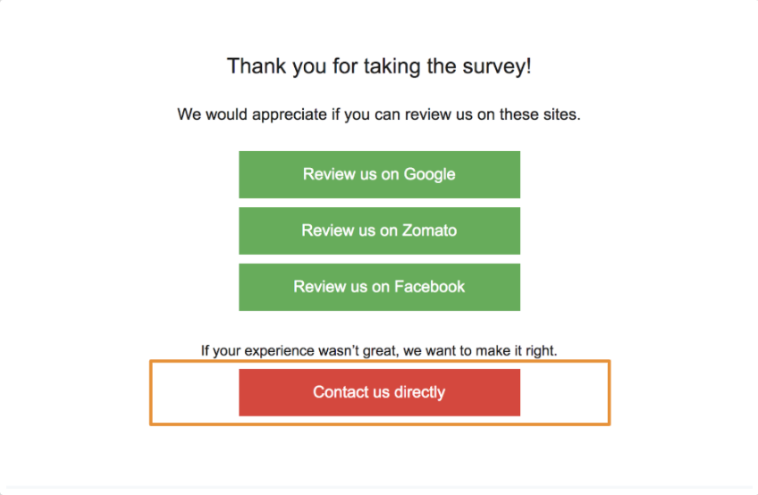 'Contact us directly' option now available for Survey third-party review question